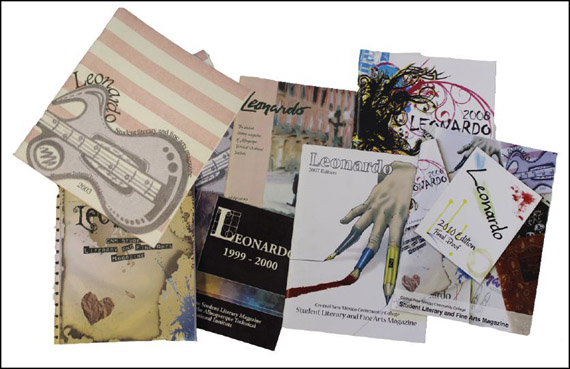 "Previous issues of the ""Leonardo Literary Magazine."""