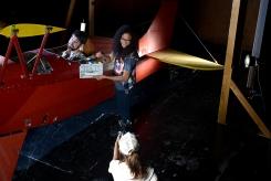 CNM Film Technician students Benjamin Ginsburg (top left), Breauna Choy (top right) and Kandice Montoya (bottom center) work on a mock video shoot.