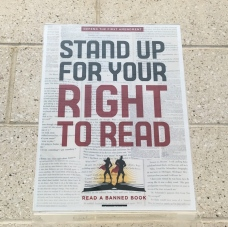Banned Books Week flier that encourages students to fight for their right to read.