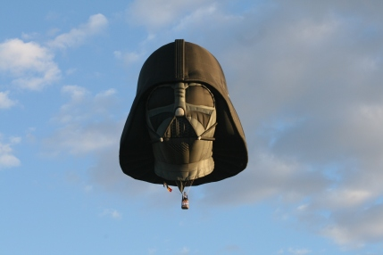 Famous Darth Vader special shape balloon taking off during the mass ascension.