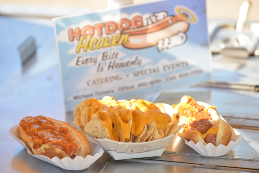 Hotdog Heaven's daily offerings, left to right, New York dog, nachos and a Chili Cheese dog.