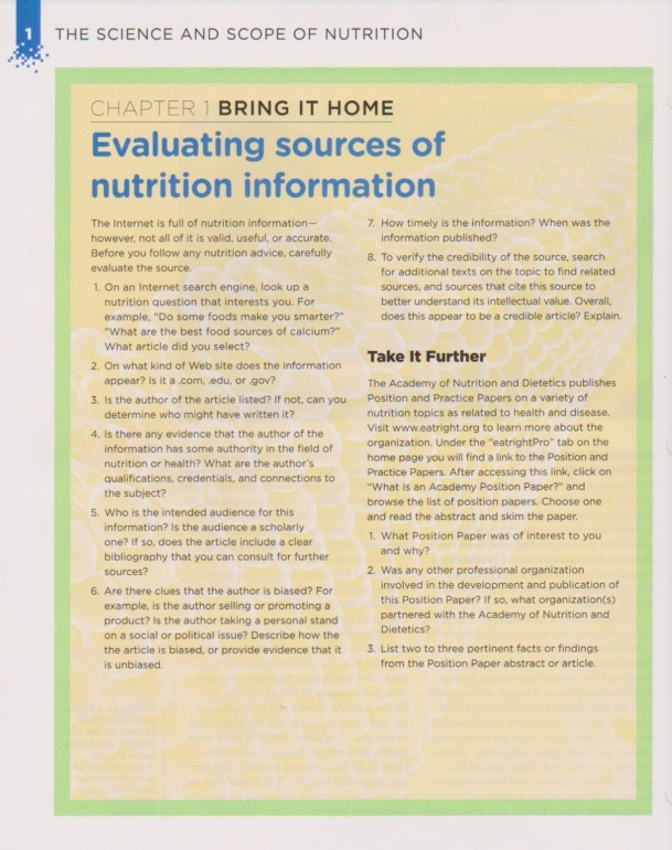 Nutrition resources checklist