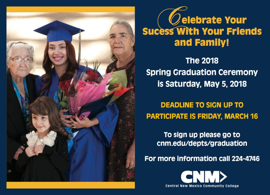 310-17B Student Activities Spring 2018 Graduation Chronicle Ad
